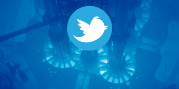 blue picture inside a reactor with a twitter logo