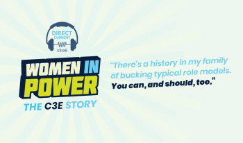 """Cover art for Direct Current podcast episode, depicting 3D text reading """"S3 E6: Women in Power: The C3E Story."""""""