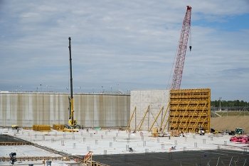 A progress photo from February 2019 shows the initial construction of the outer shell of Saltstone Disposal Unit 7 at the Savannah River Site.