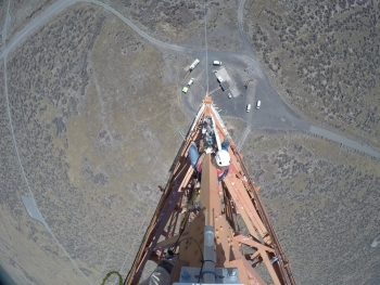 Hanford contractor Mission Support Alliance is upgrading utility systems, roads, and information technology services to support the site's cleanup mission. Recently, workers installed eight antennas on a 400-foot meteorological tower located in the center