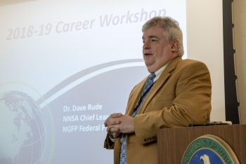 Dr. Dave Rude, NNSA's Chief Learning Officer, introduces the annual NGFP Career Workshop.