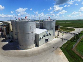 An aerial view of Quad County Corn Processors, a corn processing facility in Galva, Iowa, that produces protein, distiller's corn oil, ethanol and cellulosic ethanol.
