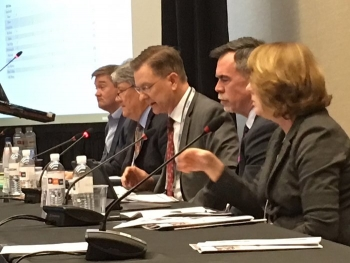 EM senior managers, from right, Betsy Connell, Jeff Griffin, Steve Trischman and Mark Gilbertson discussed the origins of the DOE environmental management program and provided a snapshot of present-day Office of Environmental Management activities and ini