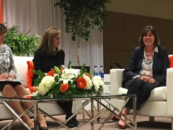 EM Assistant Secretary Anne White makes a point during the Women in Waste Management program at the 2019 Waste Management Symposia.