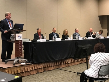 Jack Zimmerman, Deputy Manager of Idaho National Laboratory Site and Manager of EM Idaho Cleanup Project, leads a panel discussion on the history and progress being made on environmental remediation at the Idaho Site during the 2019 WM Symposia