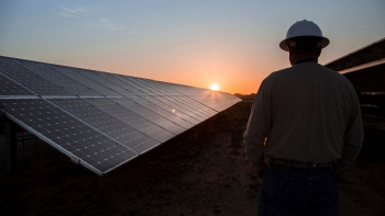 A worker watches the sunrise at the 2 megawatts CoServ Solar Station in Krugerville, Texas.