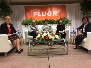 The Women in Waste Management panel at the 2019 Waste Management Symposia featured from left, Kathryn McCarthy, Vice President for Research and Development for Canadian Nuclear Laboratories; Karen Wiemelt, Jacobs Senior Vice President; Idaho Falls Mayor R