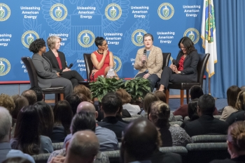 Michele Smith and interagency colleagues participated in a panel discussion at the DOE/NNSA Women's History Month event.
