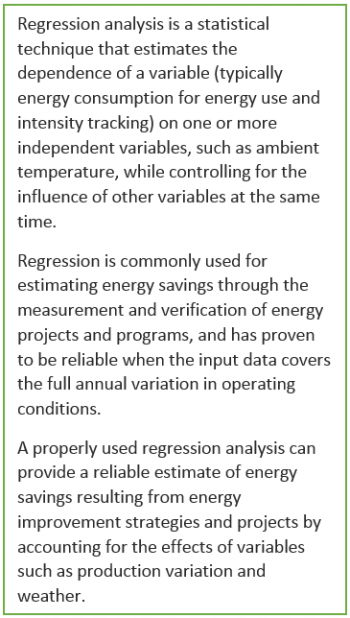 Regression analysis is a statistical technique that estimates the dependence of a variable (typically energy consumption for energy use and intensity tracking) on one or more independent variables, such as ambient temperature, while controlling for the in
