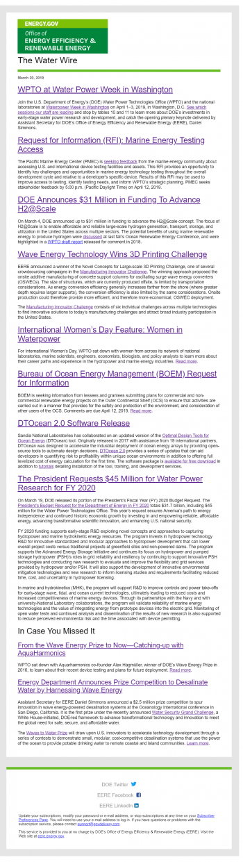 Example of Water Wire newsletter.