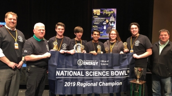 The winning team from Wheelersburg High School is shown with their trophy after capturing their third consecutive South Central Ohio Regional Science Bowl title.