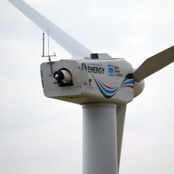 Wind turbine with lidar instrumentation installed on the back of the nacelle.