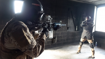 Participants in the NNSA active-shooter exercise were confronted with a real-world scenario. Here, a participant confronts an armed assailant.