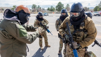 The weeklong assailant response workshop brought together more than 80 security and safety personnel from throughout the Nuclear Security Complex. Here, participants go one-by-one in responding to a simulated active shooter.