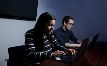Adelphi University junior Jennefer Maldonado and senior Gerard Boniello were among the 15 students enrolled in an introductory scientific computing elective that was first offered last spring.