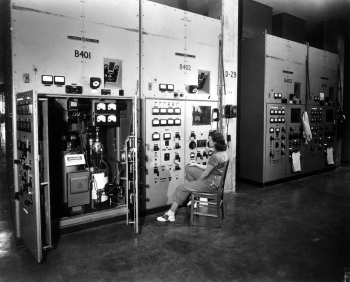 Y-12 worker at Beta-3 control panel management. c. 1945