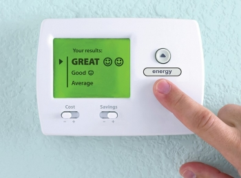 Fictional thermostat showing energy savings of great, good, and average.