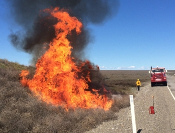 Preparations by the Hanford Site Fire Department before the wildland fire season begins include burning tumbleweeds and excessive brush, clearing vegetation to stop or slow the spread of fire.
