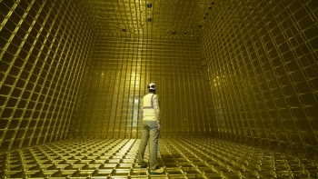 Inside the ProtoDUNE neutrino detector at CERN prior to the start of its operation.