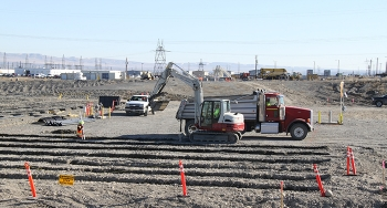 Hanford workers have installed piping to test a more efficient method for removing residual concentrations of hexavalent chromium from soil and groundwater.