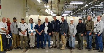 Paducah Depleted Uranium Hexafluoride Conversion Project workers pause for a photo to commemorate the project reaching its 9,000-metric-ton production goal ahead of schedule for fiscal 2019.