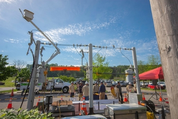 Knoxville Utilities Board provides safety demonstrations involving powerlines at Safety Fest TN.