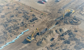 Partnering with Hanford Site contractor Mission Support Alliance, Watts Construction, a local small business contractor in Kennewick, Washington, is replacing old raw water pumps and constructing a new water line to support the Hanford cleanup mission.