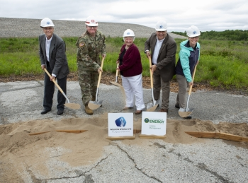 Ceremony speakers at the groundbreaking for the new Weldon Spring Interpretive Center.