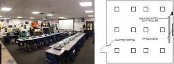 Image (left) and reflected ceiling plan (right) of classrooms L1 and L2 with the installed LED lighting system.