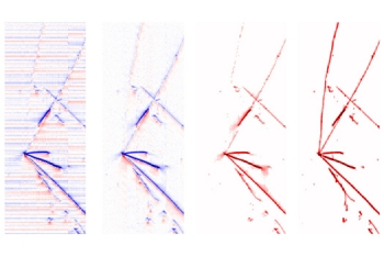 Two-dimensional images of a neutrino interaction in MicroBooNE shown at different stages of signal processing reveal cleaner and cleaner signals.