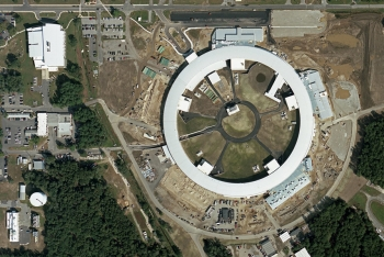 Aerial view of the construction site of the National Synchrotron Light Source II, taken in 2009, four years after the project started.