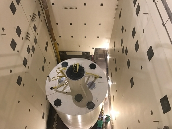 The bin set mockup, located in a clean processing cell at the Idaho Nuclear Technology and Engineering Center, is being used to test several proposed calcine retrieval technologies.