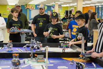 The UCOR grants fund a variety of projects. Here, a team of students from Jefferson Middle School in Oak Ridge take part in a robotics challenge.