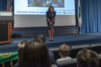 NNSA Administrator Lisa E. Gordon-Hagerty answering question from a group of children at DOE's annual Take Your Daughters and Sons to Work Day.