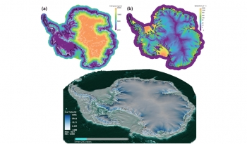 Screenshots from the MALI and BISICLES computer models simulating what the Antarctic ice sheet would look like and how fast ice would move 200 years after the ice sheet's floating ice shelves have disintegrated.