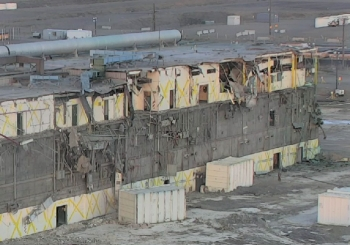A view of the site where crews tore down a stairwell attached to the Plutonium Finishing Plant's Main Processing Facility.