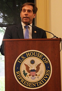 Rep. Chuck Fleischmann of Tennessee, chair of the House Nuclear Cleanup Caucus, speaks to the audience at last week's caucus event prior to a panel discussion.