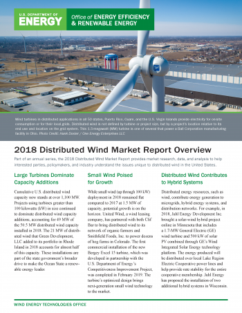 2018 Distributed Wind Market Report Overview cover.