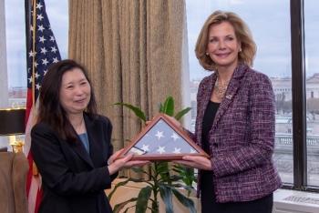 Sachiko McAlhany with NNSA Administrator Lisa E. Gordon-Hagerty.