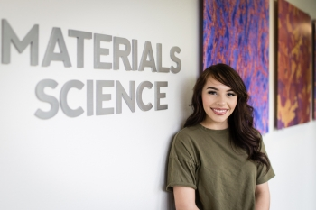 Gold scholarship award winner Estrella Torres from Nambé Pueblo is currently interning at the Laboratory in the materials science division.