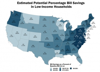 Map of estimated potential percentage bill savings in low-income households.