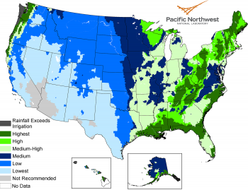 A map of the United States shows the locations of rainwater availability specifically for landscape irrigation.
