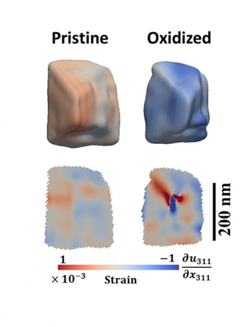 Three-dimensional maps of a single magnetite crystal show morphology (top) and cross-sectional views (bottom) of the internal strain fields, both before (left) and after (right) oxidative dissolution of the crystal in an acidic aqueous solution.
