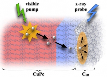Visible-pump / X-ray probe photoelectron spectroscopy monitors exciton migration and charge generation in a molecular heterojunction between a copper-phthalocyanine (CuPc) donor and a fullerene-based (C60) acceptor.