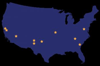 NNSA location map with stars