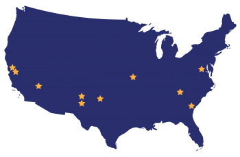NNSA location map with stars