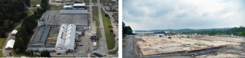 A view of K-1037 Building site before and after demolition.