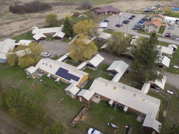 Bird's eye view of the Spokane Indian Housing Authority solar installations.