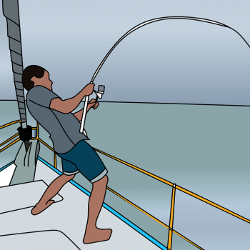 A drawing of a man on a fishing boat reeling in a fish on a fishing pole.