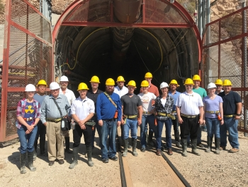 Ed Ripley (sixth from left) and colleagues at the entrance to P Tunnel at the Nevada Test Site as part of the Sandia National Laboratories Weapon Intern Program Class of 2018.